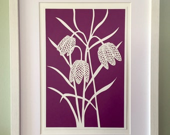 Paper art, Paper cut art, Wall art, Purple wall art, Gift for gardeners, Anniversary gift,  Cut paper flowers, Gift for her, Coworker gift