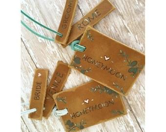 luggage tag set, honeymoon luggage tag, custom luggage tag, luggage tag gift, leather luggage tags