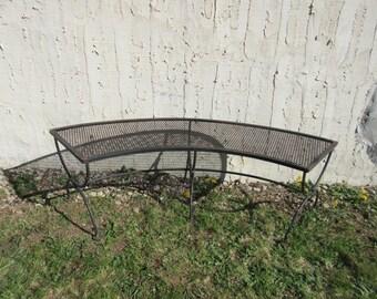 Vintage Woodard Metal Patio Porch Half Moon Bench Lounge Seat A