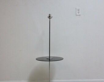 Vintage Mid Century Floating Chrome Floor Pole Lamp End Table