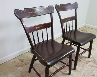 pair early antique pine plank bottom dining room side chairs