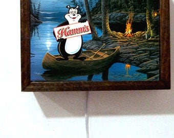 Hamm's Hamms Beer Bear Canoe Fishing Lake Fire Firepit Wooden Frame Light Lighted Sign