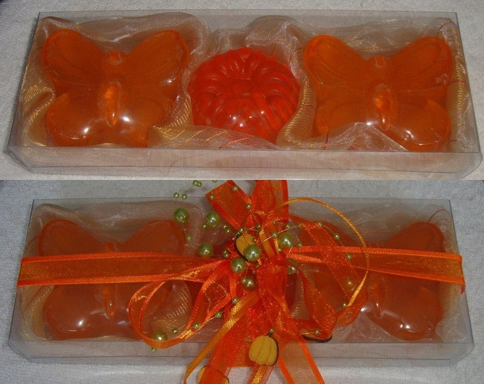 Orange Butterflies Soap Gift Pack, Luxury Handmade Soap, Glycerin Scented Soap, Halloween Gift, Birthday Gift, Party Gift, Beauty Gift Set