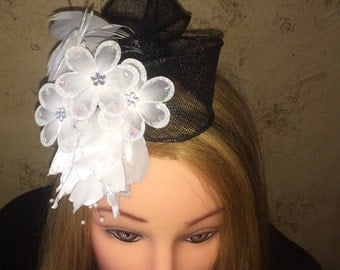 Black Sinamay Fascinator