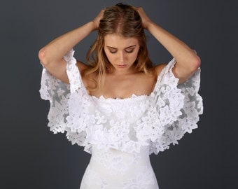 Off the Shoulder Lace Bohemian Wedding Dress with Scallop-cut Floral Detailing and Soft Tulle Hemline - Lucy Dress
