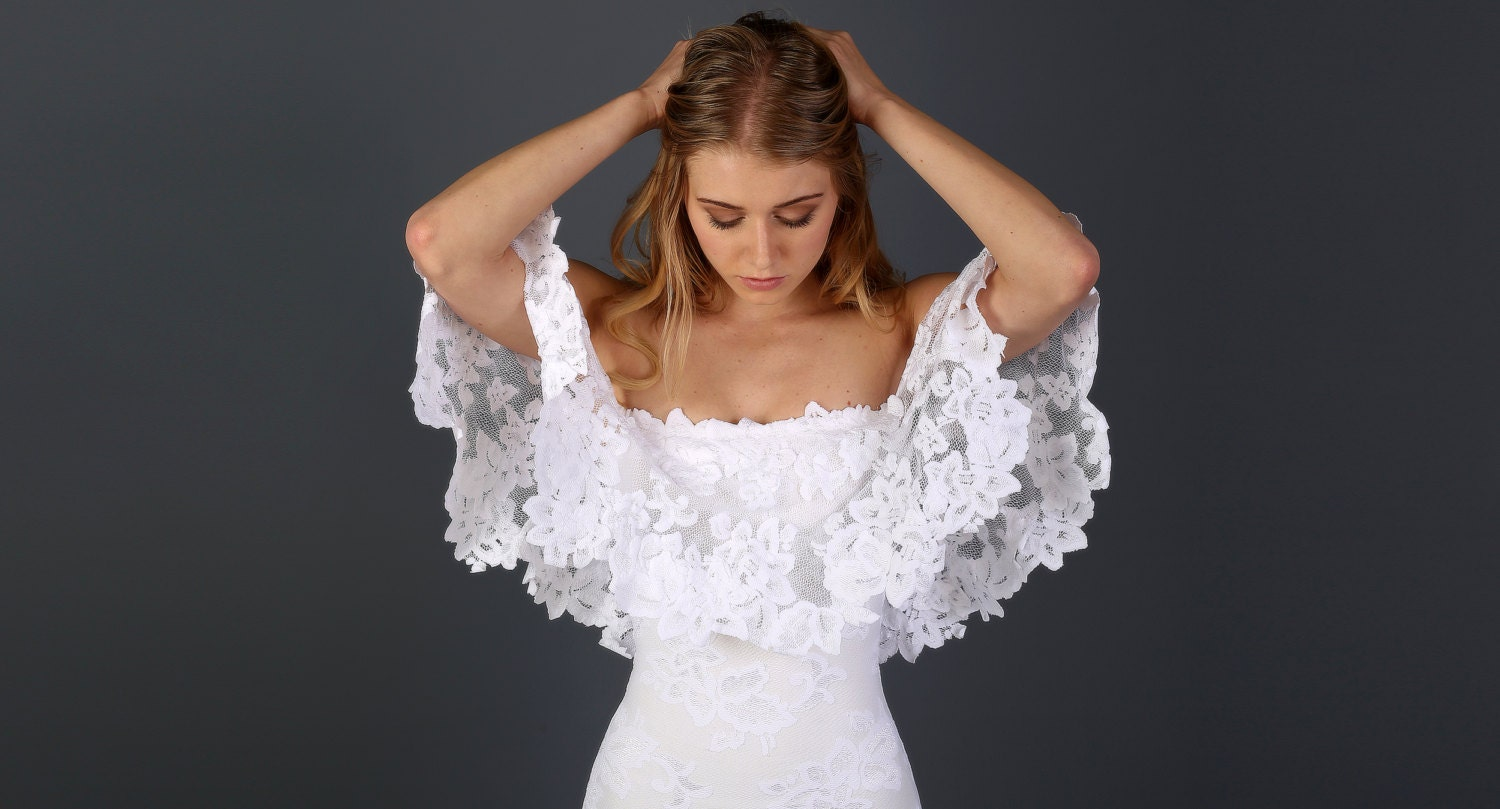 f the Shoulder Lace Bohemian Wedding Dress with Scallop cut
