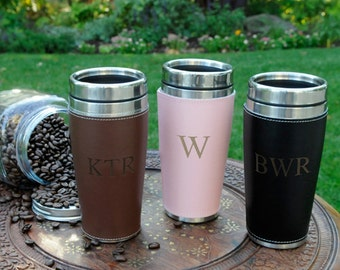 Personalized leather travel tumbler coffee mug