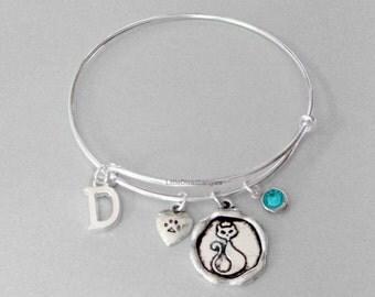Adjustable CAT CHARM  Bangle / Initial  /  Cat Paw /Birthstone  / Animal Jewelry - Gift For Her / Jewelry / Under Twenty  P1