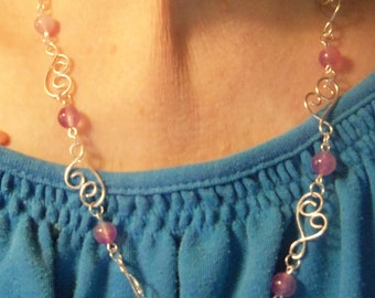 Pink Jade Necklace Earrings, Silver hammered link chain, Jade jewelry, Silver chain and bead jewelry