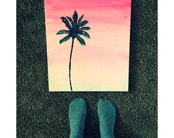 SALE•   palm tree// watercolor painting