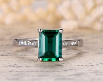 Emerald Engagement Ring Emerald Cut Ring 14K White Gold Emerald Ring May Birthstone Ring Emerald Cut Engagement Ring Diamonds Chanel Set