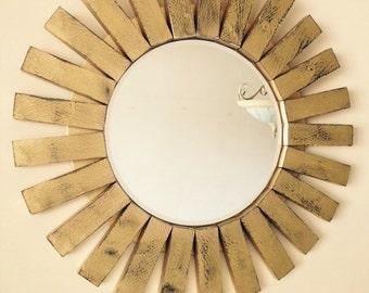 Handmade Sunburst Wall Mirror Distressed Wood Frame Gold and black
