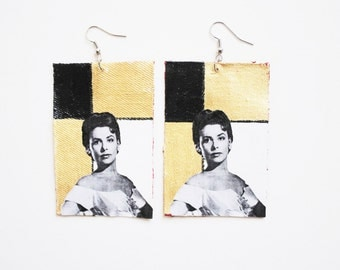 Love You, Lena, Lena Horne, black, white, metallic gold, and red colorblock earrings