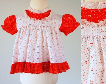 Vintage Baby Girl Dress / Vintage Swing Top / Size 6 - 18 months / Red and White Baby Dress / Red and White Swing Top / Polka Dots and Bows