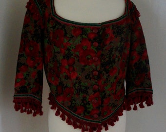 Vintage Women's Long Sleeve Red, Green, Brown And Black Floral Folk Corset Top With Tassels Size UK 12-16 US 8-12