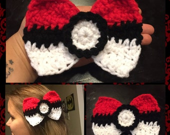 Crochet Pokeball Bow.. Pokemon... Pokeball