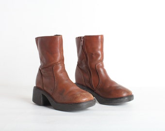 Vintage Kids Leather Ankle Boots Size 13.5