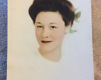 Vintage Hand Colored Portrait Photo of a beautiful woman circa 1920s. 13cm x 18cm