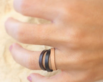 Simple leather ring / Rustic Leather Band  /  Tribal Brown Ring /  leather wrap / Unique gifting ideas / Genuine Leather Rings