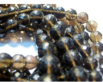 ON SALE 50% Smoky Quartz, Micro Faceted Rondelles - 8 Inch Strand - 28 Pieces - 8mm Each