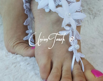 Free Ship White wedding barefoot sandals, Beach wedding barefoot sandals, white lace sandals, white anklet, weddings, accessories