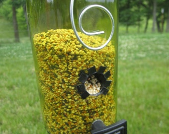 Recycled Wine Bottle Bird Feeder with Drawer Handle for perch, upcycled, unique,