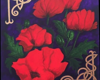 Celtic Poppies - Original Acrylic Painting