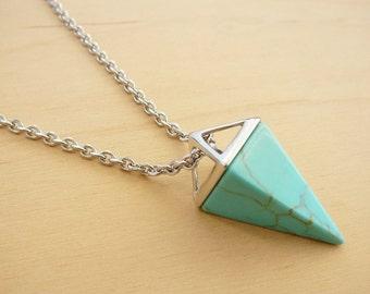 Turquoise Pendant Blue Pendant Turquoise Necklace Long Blue Necklace Long Turquoise Pendant Pyramid pendant Gift for Girl Summer Pendant