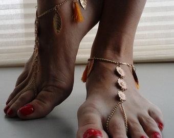 Bare foot sandals gold/yellow