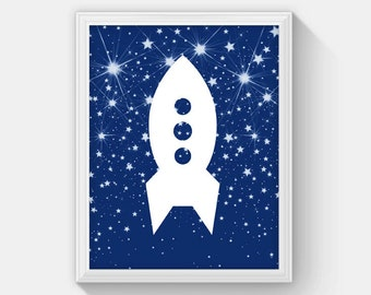 Rocket Ship Print, Instant Download Rocket Ship Decor, Space Theme Nursery, Outer Space Wall Art for Boys Room, Boy Room Decorations