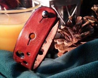 "Leather Bracelet, Button Stud Closure, ""Swiss Cheese"" Design"