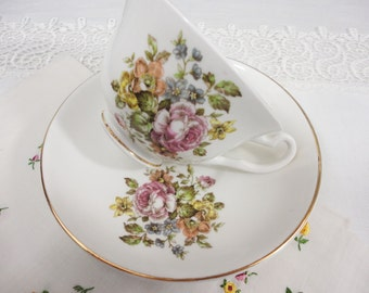 Crownford Simple Floral Bone China Teacup & Saucer - 4 Available