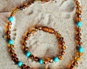Genuine Baltic Amber Baby Teething Necklaces 32cm & Bracelet-(088)