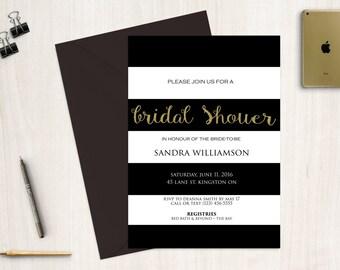 Bridal Shower Invitation, Black and white bridal shower invitation, bridal shower,