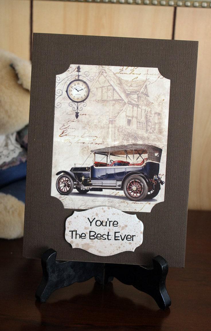 Handmade card. Vintage car card. Steampunk card. Custom order age ...