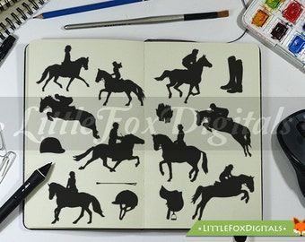 Horse Riding Hipica Sport Silhouette Clipart Set Digital Illustration Scrapbook