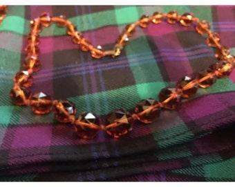 Vintage cranberry coloured glass necklace