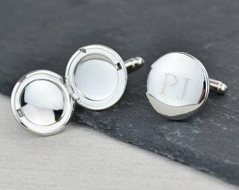 Monogram Personalised Locket Cufflinks - Personalized Cufflinks - Monogram cufflinks -Graduation Gift - Wedding Cufflinks [ECUFF-006-RP]