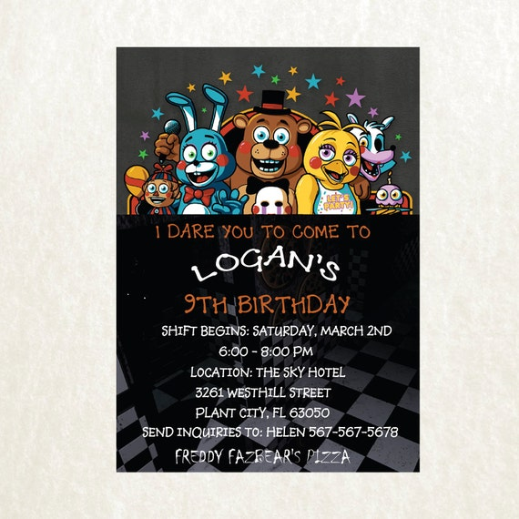 Five Nights At Freddy S Birthday Invitation Template