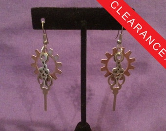 Steampunk Gear and Clock Hand Earrings