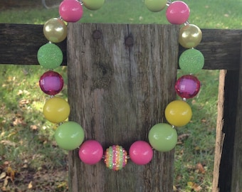 Kids chunky necklace, bubble gum bead necklace, girls necklace, baby necklace, bubblegum bead, chunky necklace, pink, yellow, green