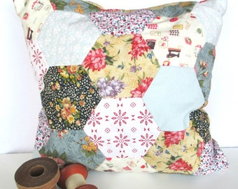 Vintage Retro Hexagon Patchwork Cushion. Home Decor. Handmade Bedroom Nursery Decoration