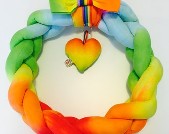 Bright Tie-dyed Fabric Wreath