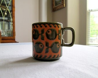 Vintage Hornsea Mug / England / Mid Century Modern / Hornsea Pottery / School of Fish /  Clappison Design / Olive Green / Orange