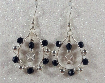 Black and Silver Dangle Earrings / Wire wrapped / Dangle / Handmade