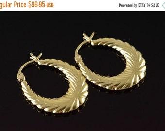 ON SALE 14K Scalloped Hollow Hoop Earrings Yellow Gold
