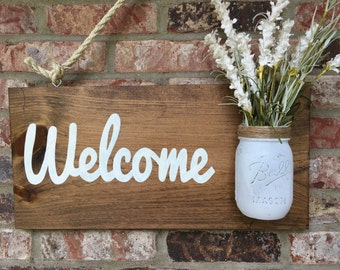 Rustic Mason Jar Welcome Sign and Wall Art