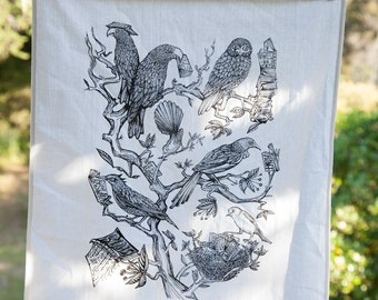 Native N.Z. Birds and Books cotton Tea Towel