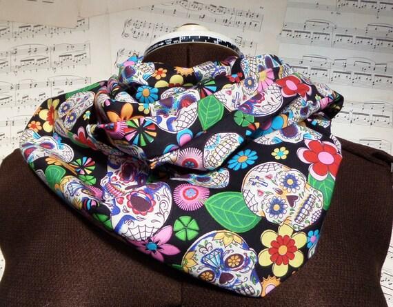 sugar skull scarf, day of the dead scarf, skull infinity scarf, alternative mum, cowl, sug<a href=