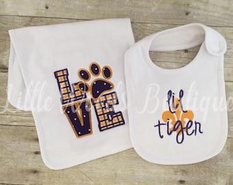 LSU Gender Neutral Baby Bib and Burp Cloth Set - LSU Baby